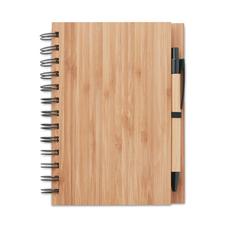 Блокнот на пружине с ручкой А5, 70 стр., древесный фото