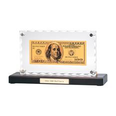 Банкнота 100 USD в стекле, прозрачный фото