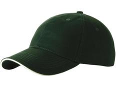 Бейсболка Slazenger Challenge 6 клиньев сэндвич, темно-зеленая/ белая фото