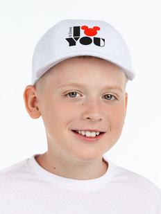 Бейсболка детская «Микки. I Love You», белая фото
