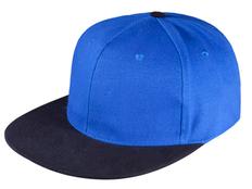 Бейсболка Unit Heat 6 клиньев, плоский козырек, ярко-синяя/ черная фото