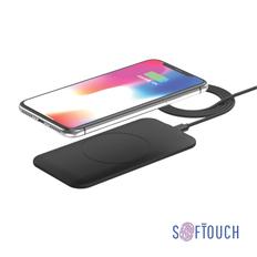 Зарядное устройство беспроводное Powerfolio Slim Softtouch, Qi стандарт, черное фото