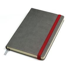 Бизнес-блокнот в линейку на резинке thINKme Fancy, 256 стр., серый/ красный фото