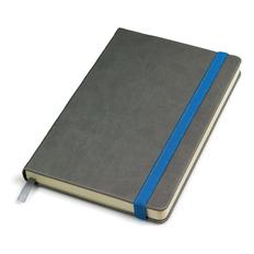 Бизнес-блокнот в линейку на резинке thINKme Fancy, 256 стр., серый/ синий форзац фото