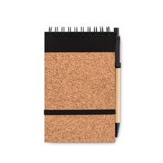 Блокнот А6 из пробки с ручкой, чёрно-коричневый фото