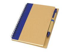 Блокнот в линейку на пружине с ручкой Priestly, 60 листов, древесный/ синий фото