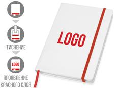 Блокнот в линейку на резинке Lettertone Secret А6, 80 листов, белый/ красный фото
