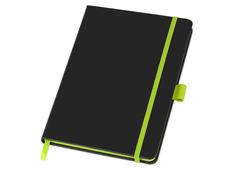 Блокнот в линейку на резинке Lettertone Color Edge А5, 80 листов, черный/ лайм фото