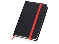 Блокнот в линейку на резинке Имлес А6, черный/ красный фото