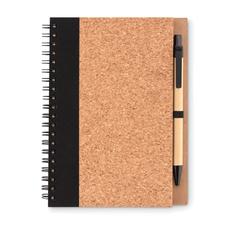 Блокнот из пробки с ручкой, коричневый / чёрный фото