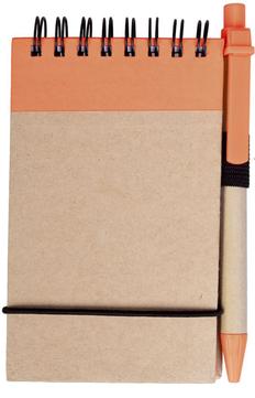 Блокнот на пружине с авторучкой Eco note A7, 50 листов, оранжевый фото