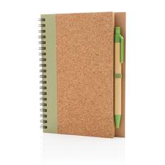 Блокнот на спирали с ручкой XD Collection Cork, крафт / зеленый фото