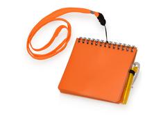 Блокнот нелинованный на ремешке с авторучкой, 60 страниц, оранжевый фото