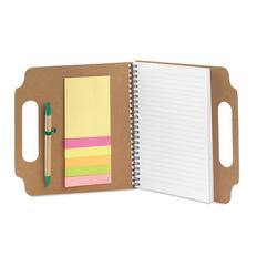 Блокнот с ручкой и стикерами Makron, бежевый фото