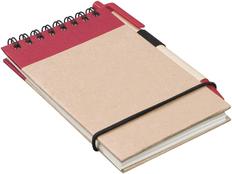 Блокнот на пружине с авторучкой Zuse, 40 листов, красный фото