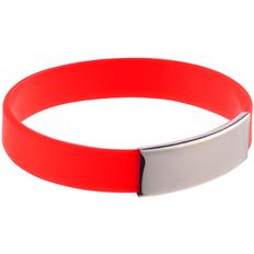 Браслет силиконовый с металлическим шильдом Brisky, красный фото