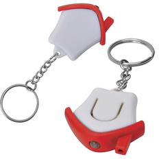Брелок - фонарик в форме домика Дом, белый/красный фото