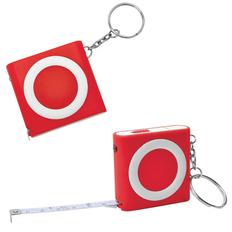 Брелок - рулетка с фонариком, красный фото