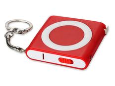 Брелок - рулетка с фонариком, темно-красный фото
