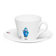 Чайная пара Farforite «А снег идет» 250 мл в подарочной коробке, белая / разноцветная фото