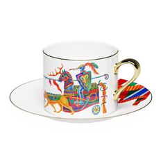 Чайная пара Farforite «Бестиарий» 250 мл в подарочной коробке, белая / разноцветная фото