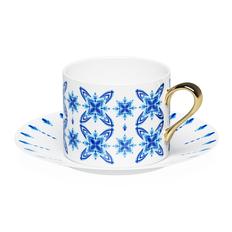 Чайная пара Farforite «Гжель» 250 мл в подарочной коробке, белая / голубая фото