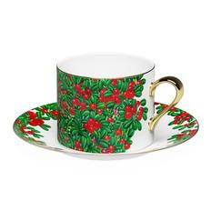 Чайная пара Farforite «Калевала» 250 мл в подарочной коробке, белая / зеленая / красная фото