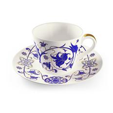 Чайная пара Farforite «Лазоревый белый» 250 мл в подарочной коробке, синяя / золотая фото