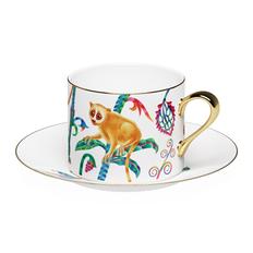 Чайная пара Farforite «Лемуры» 250 мл в подарочной коробке, белая / разноцветная фото