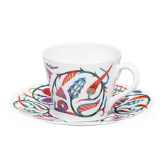 Чайная пара Farforite «Сказочный сад» 250 мл в подарочной упаковке, белая / разноцветная фото