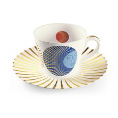Чайная пара Farforite «Сумеречный сад» 250 мл в подарочной коробке, оранжевая / синяя / золотая фото
