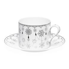 Чайная пара «Время предвкушения. Снежинки» 250 мл в подарочной коробке, белая / черная фото