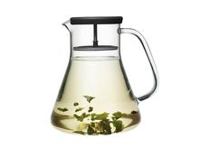 Чайник стеклянный Dancing Leaf, черный, прозрачный фото