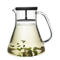 Чайник стеклянный dancing leaf черный, прозрачный фото