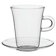 Чашка с блюдцем Glass Duo, прозрачная фото