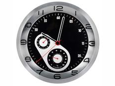 Часы настенные «Астория», хром / черные фото