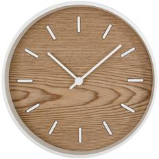 Часы настенные деревянные Kudo, белые / крафт фото