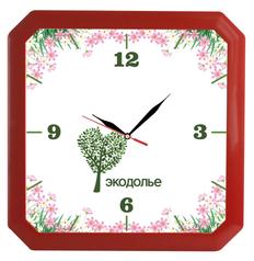 Часы настенные, Квадро, красные фото