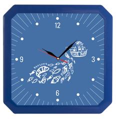 Часы настенные, Квадро, синие фото