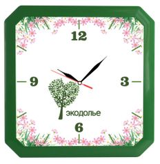 Часы настенные, Квадро, зеленые фото