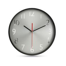 Часы настенные, черный/металлик фото