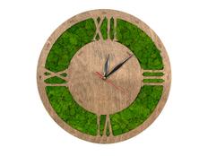 Часы настенные со мхом «Римские», зеленые / светлое дерево фото