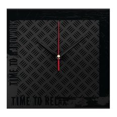 Часы настенные стеклянные Hard Work Black, черные фото