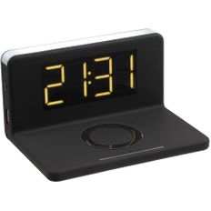 Часы настольные с беспроводным зарядным устройством Uniscend Pitstop, черные фото