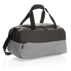 Двухцветная дорожная сумка с RFID из RPET, чёрно-серая фото
