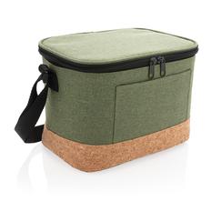 Двухцветная сумка-холодильник с пробковой отделкой, зелёная фото