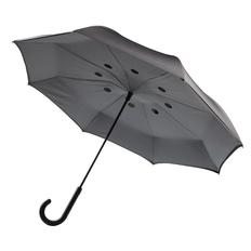 "Зонт трость наоборот двусторонний полуавтомат XD Collection 23"", серый фото"