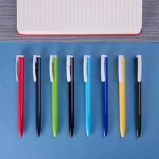 Ручка шариковая пластиковая Lecce Pen Elle, белая / синяя фото