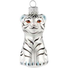 Елочная игрушка «Бенгальский тигр», белая фото