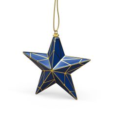 Елочная игрушка «Кремлевская Звезда» в пенале, синяя / золотая фото